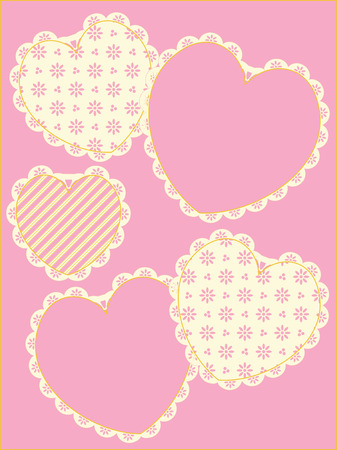 trim: Five different hearts with Victorian eyelet trim in shades of pink, gold and ecru with copy space.