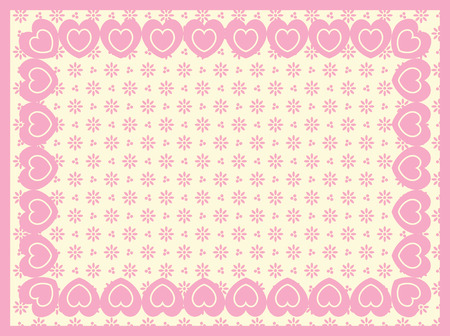 background of Victorian eyelet with a border of double hearts and plenty of copy space in shades of pink &amp, ecru. Vector