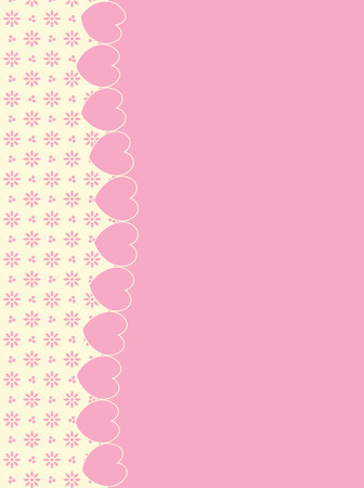 background with side Victorian trim of hearts and eyelet in shades of pink &amp, ecru having plenty copy space. Stock Vector - 6325561