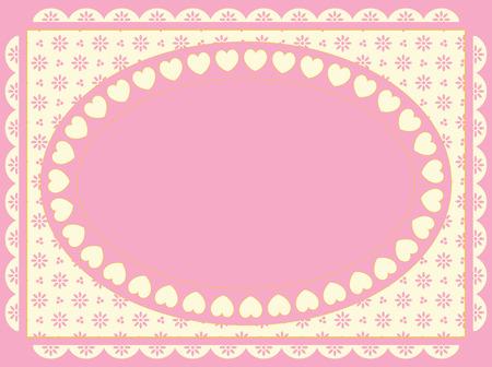 festonati: Cornice ovale di cuori su sfondo in tonalit� di rosa, oro ed ecru eyelet Vittoriano.