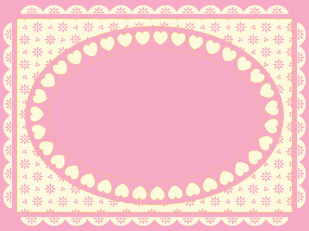 Oval frame of hearts on a Victorian eyelet background in shades of pink, gold and ecru.