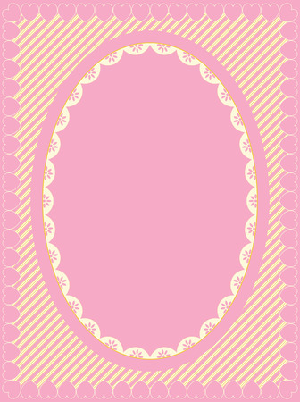 Oval frame of Victorian eyelet on heart trimmed striped background in shades of pink, gold and ecru having lots of copy space. Illustration