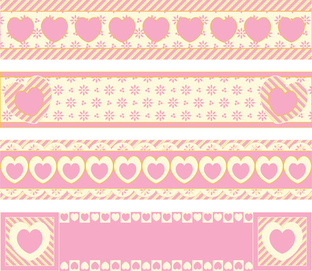 label frame: Four borders with Victorian eyelet hearts and stripes in pink, gold &amp, ecru.