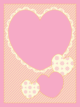 with four Victorian eyelet trimmed heart copy spaces on striped background in shades of pink, gold and ecru.