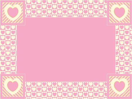 heart border with copy space in shades of pink, gold and ecru. Vector