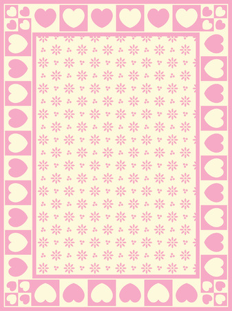 Heart border with Victorian eyelet copy space in shade of pink and ecru. Ilustrace