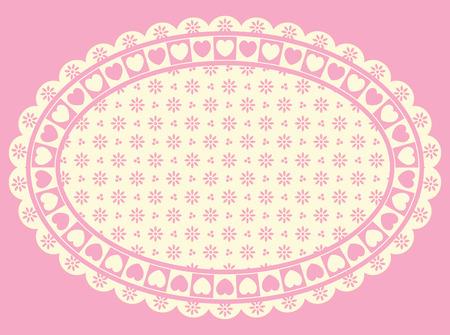 ribetes: Oval de frontera de coraz�n, con espacio de copia de ojal victoriana en tonos de rosado y ecru.