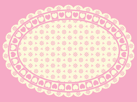 Oval Heart border with Victorian eyelet copy space in shades of pink and ecru. Illustration