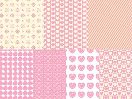 eyelet: 7 heart and eyelet background swatches in shades of pink, gold and ecru.