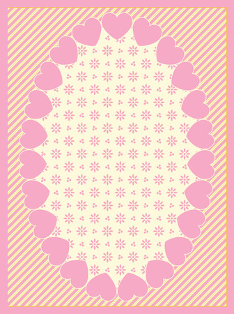eyelet: Oval Heart border with Victorian eyelet copy space on top of a striped background in shades of pink and ecru.