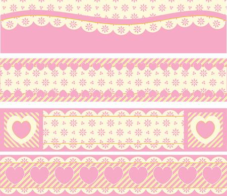 ビクトリア朝のアイレット心とピンク、ゴールド & amp は、ベージュのストライプで四辺の罫線。