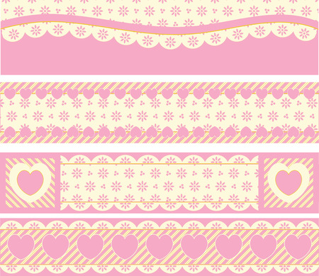 Four borders with Victorian eyelet hearts and stripes in pink, gold &amp, ecru.  Vector