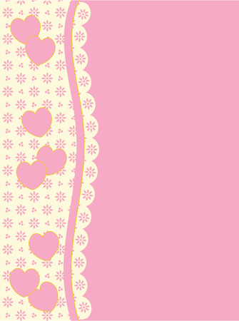 white trim: background with side Victorian trim of hearts and eyelet in shades of pink &amp, ecru having plenty copy space. Illustration