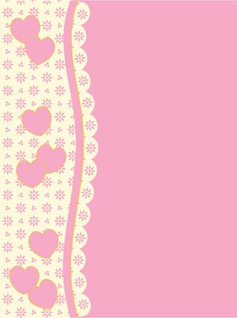 festonati: sfondo con lato TrimBox vittoriana di cuori e occhiello in tonalit� di rosa & amp, �cru avendo molte copiare lo spazio.