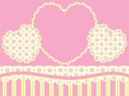 Victorian background copy space with hearts, eyelet and stripes in pink, gold and ecru. Vector