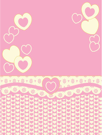 eyelet: Victorian background copy space with hearts, eyelet and stripes in pink, gold and ecru.