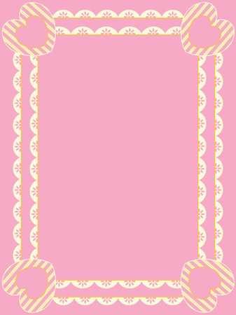 eyelet: Victorian frame with rows of eyelet, striped hearts, and plenty of copy space in shades of pink, gold and ecru.