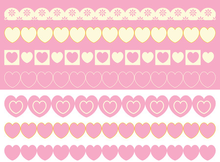 ribetes: fronteras de ojal y corazones en rosa, oro y ecru de pincel.  Vectores