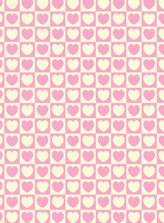 swatch heart striped squares fabric wallpaper in pink and ecru that matches Valentine borders. Vector