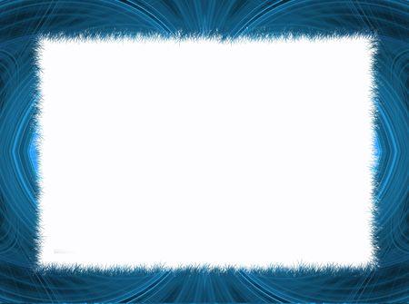 Blue fringe fractal border with white copy space.