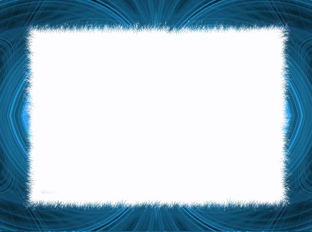 Blue fringe fractal border with white copy space. photo