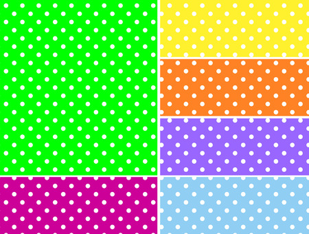 Dotted swatches in six spring colors.  Vector
