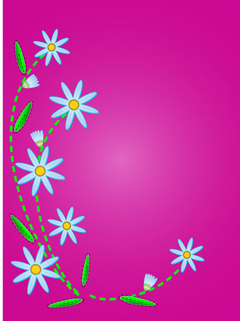 blue cornflowers on a pink copy space with quilting stitches.   Vector