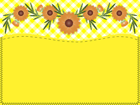 Orange zinnia on yellow gingham with copy space and quilting stitches.
