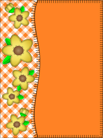 side border: orange copy space with a side border of gingham and yellow flowers with quilting stitches.