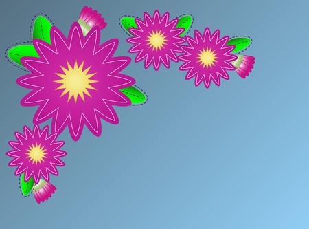 pink zinnia flower border on blue copy space with quilting stitches.  Illusztráció