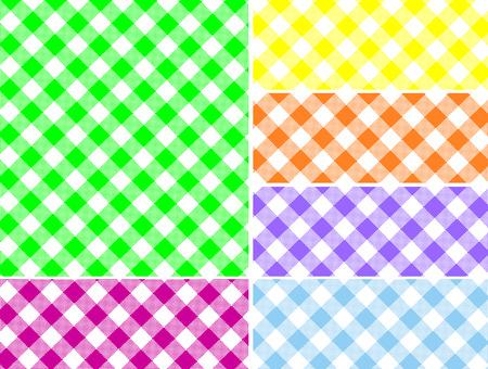 Tela a quadretti campioni di tessuto in sei colori che possono essere facilmente modificati.