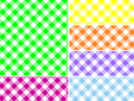 Woven gingham swatches in six colors that can be easily changed.   Vector