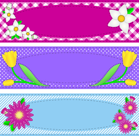 Three borders with oval copy space, flowers, stripes, gingham and dots in pink, purple, blue, yellow, white containing quilting stitches.  Vector
