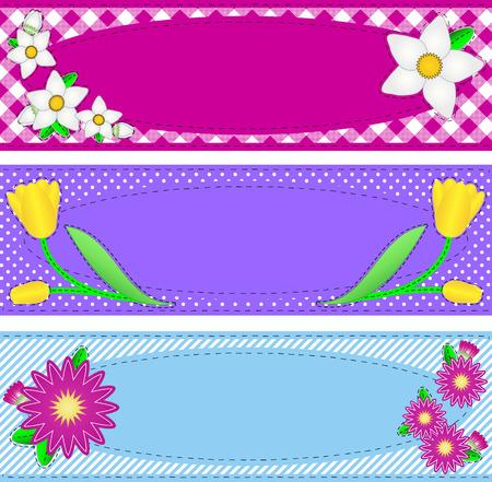 ribetes: Tres fronteras con espacio de copia oval, flores, rayas, cuadros y puntos en rosa, p�rpura, azul, amarillo, blanco que contiene puntos de sutura de Acolchadoras.  Vectores