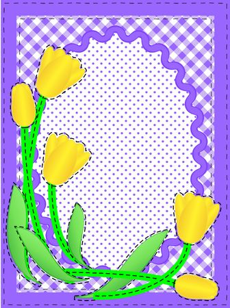 Border with oval copy space, flowers, gingham and dots in purple, white containing quilting stitches.  photo