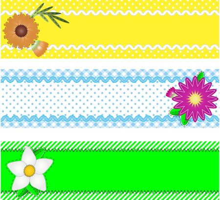Three borders with copy space, flowers, stripes, gingham and dots in green, blue, yellow, white while containing quilting stitches, ric rac.