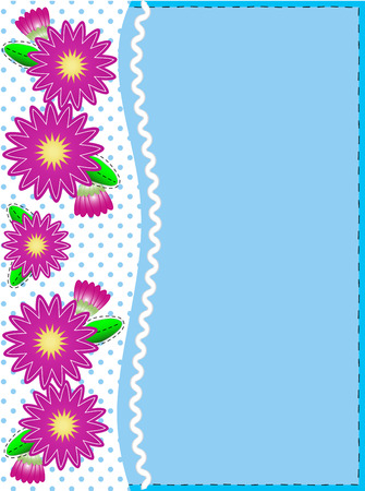 trim: Blue copy space with a side trim of Pink zinnias on top of polka dot background complemented by ric rac and quilting stitch accents. Illustration