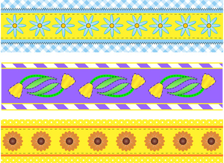 Three borders with flowers, polka dots, stripes and gingham with accent quilting stitches.  Stock Vector - 6805228