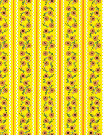Yellow Striped Wallpaper pattern with orange flowers, ric rac trim and quilting stitching. Illusztráció