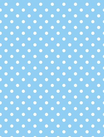 back ground: Blue background with white polka dots.