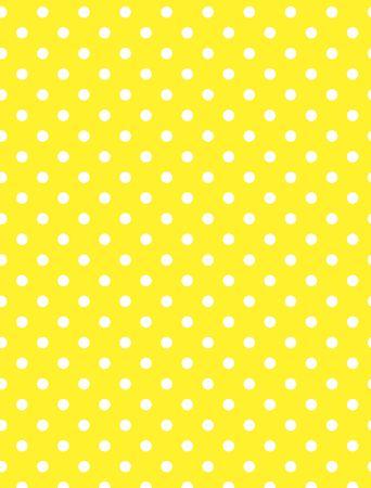 黄色の背景で白の水玉。