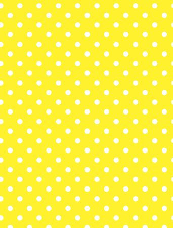 Yellow background with white polka dots.