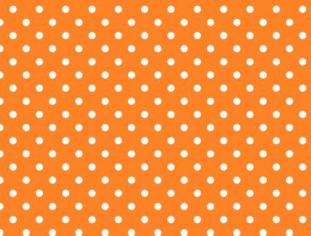 polka dotted: Orange background with white polka dots. Stock Photo