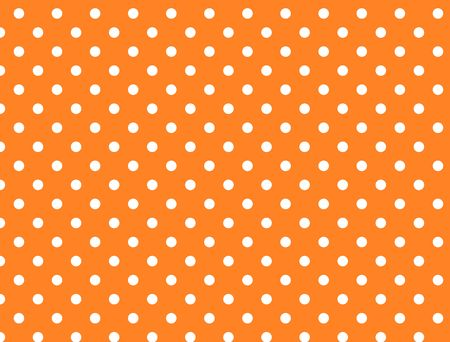 Orange background with white polka dots. Stockfoto