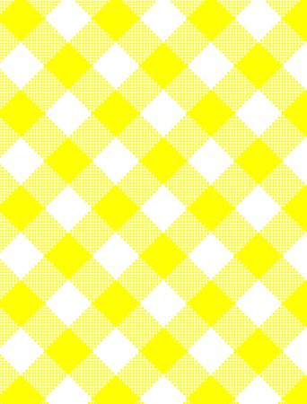 Woven Yellow and white gingham fabric.  photo