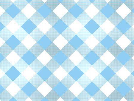 checked: Woven blue and white gingham fabric.