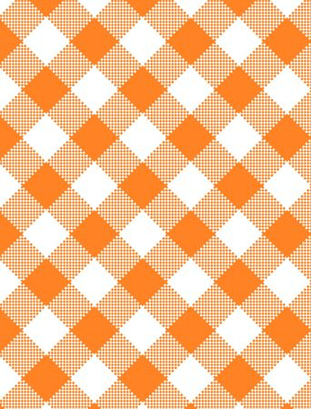 checked: Woven orange and white gingham fabric.