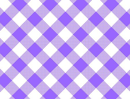 Woven purple and white gingham fabric.  Stock Photo