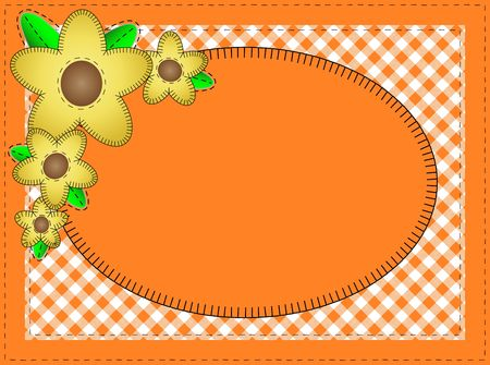 Jpg.  Oval orange copy space with gingham matting, quilting stitches and yellow flowers. photo