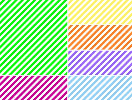 六つの春の色でのシームレスな連続的な斜めの縞模様の背景。